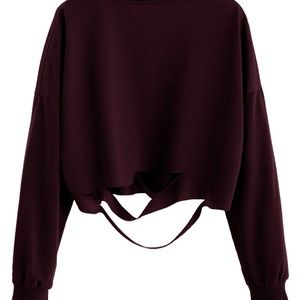 Romwe distressed cropped sweater